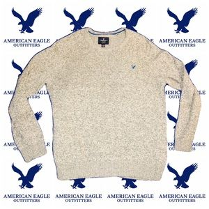 AMERICAN EAGLE Men's Large Gray Sweater Blue Logo